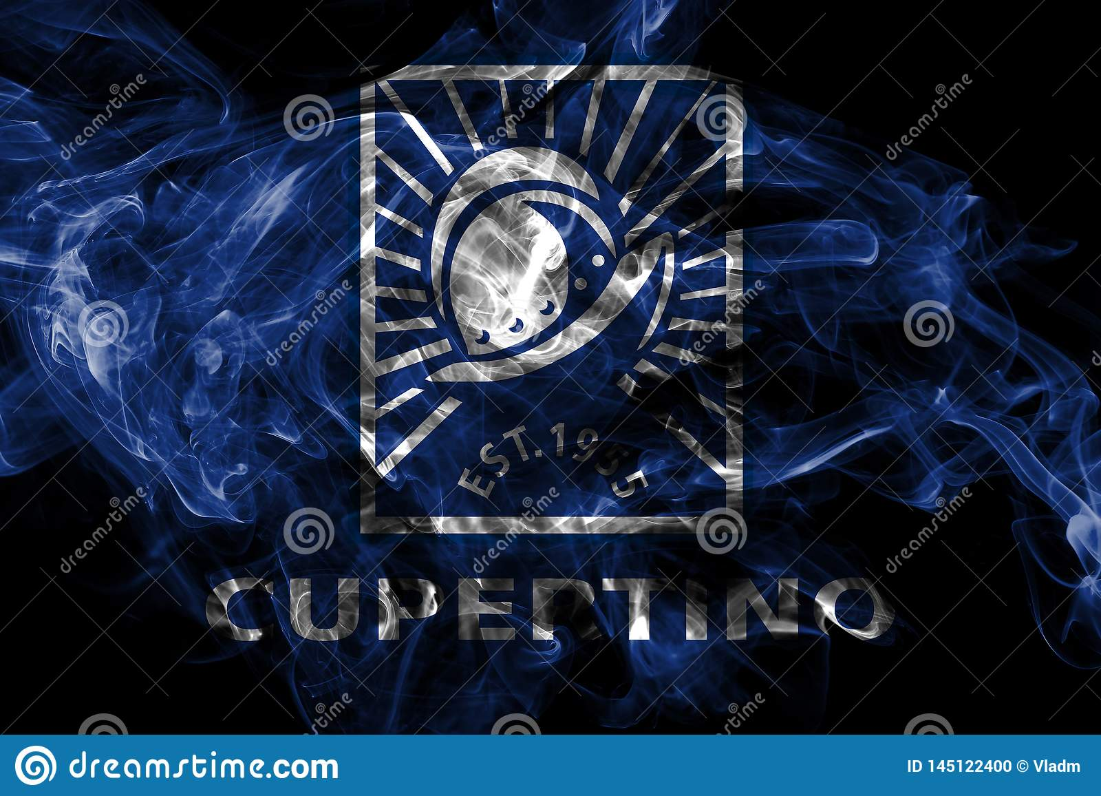 Флаг задымления городов Cupertino, государство Калифорния, Соединенные Штаты Америки