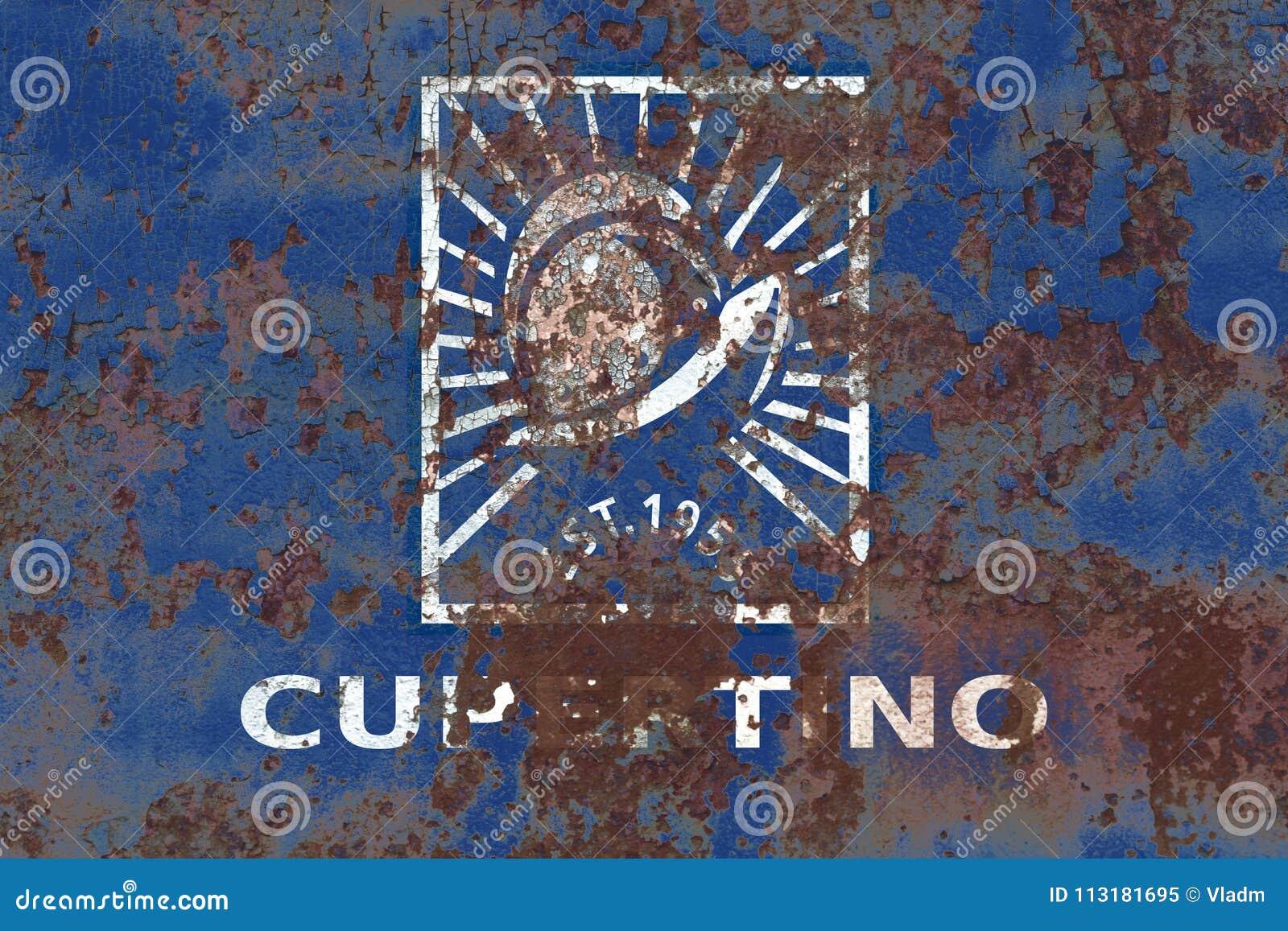Флаг задымления городов Cupertino, положение Калифорнии, Соединенные Штаты Am