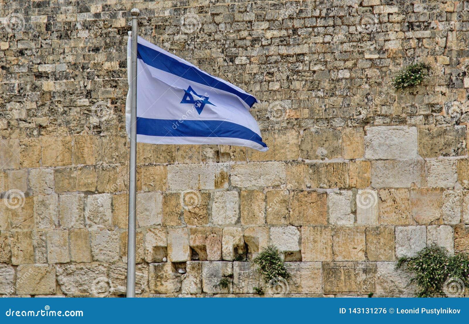 Флаг Израиля на западной стене