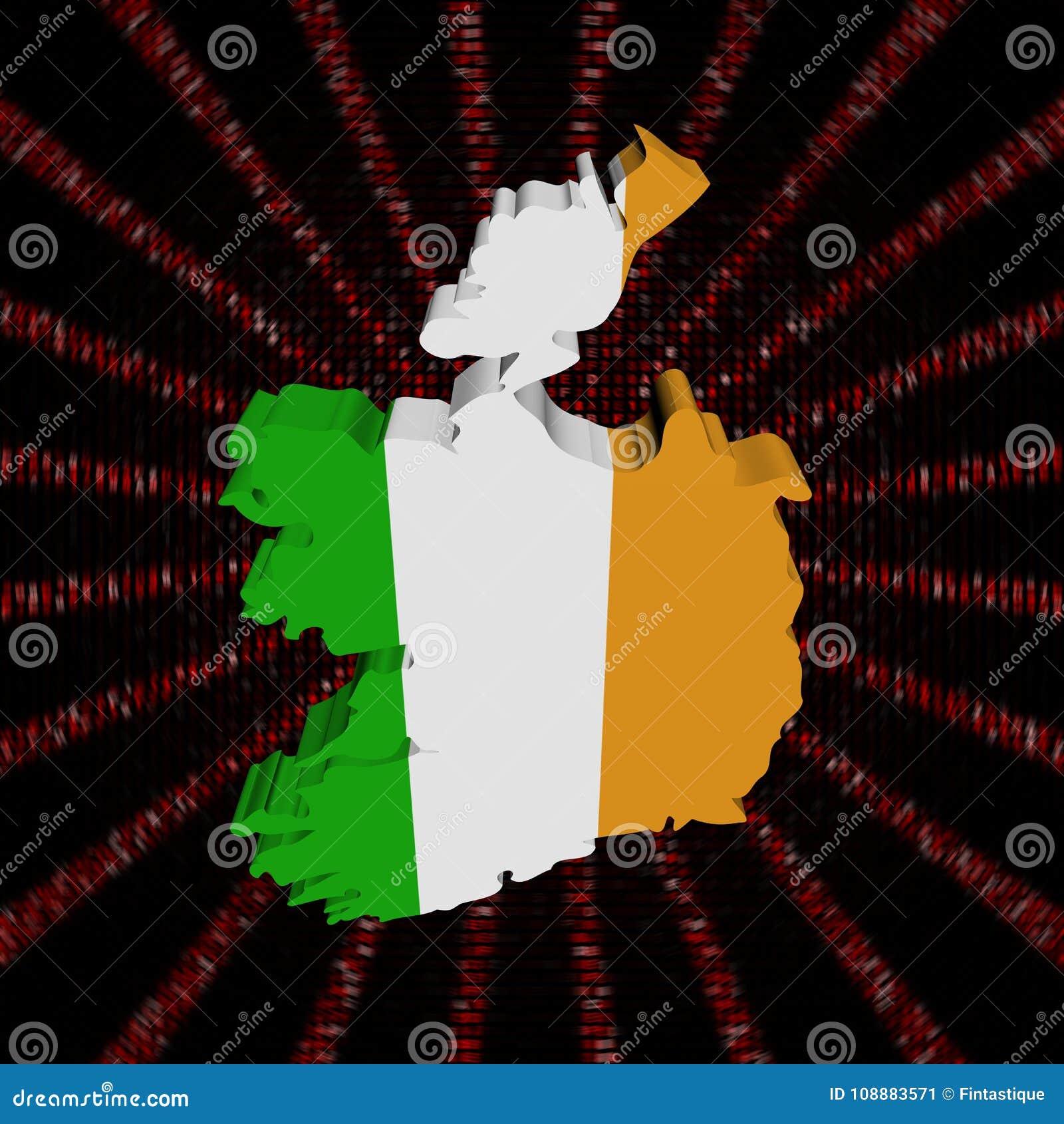Флаг карты Ирландии на красном коде наговора разрывал иллюстрацию
