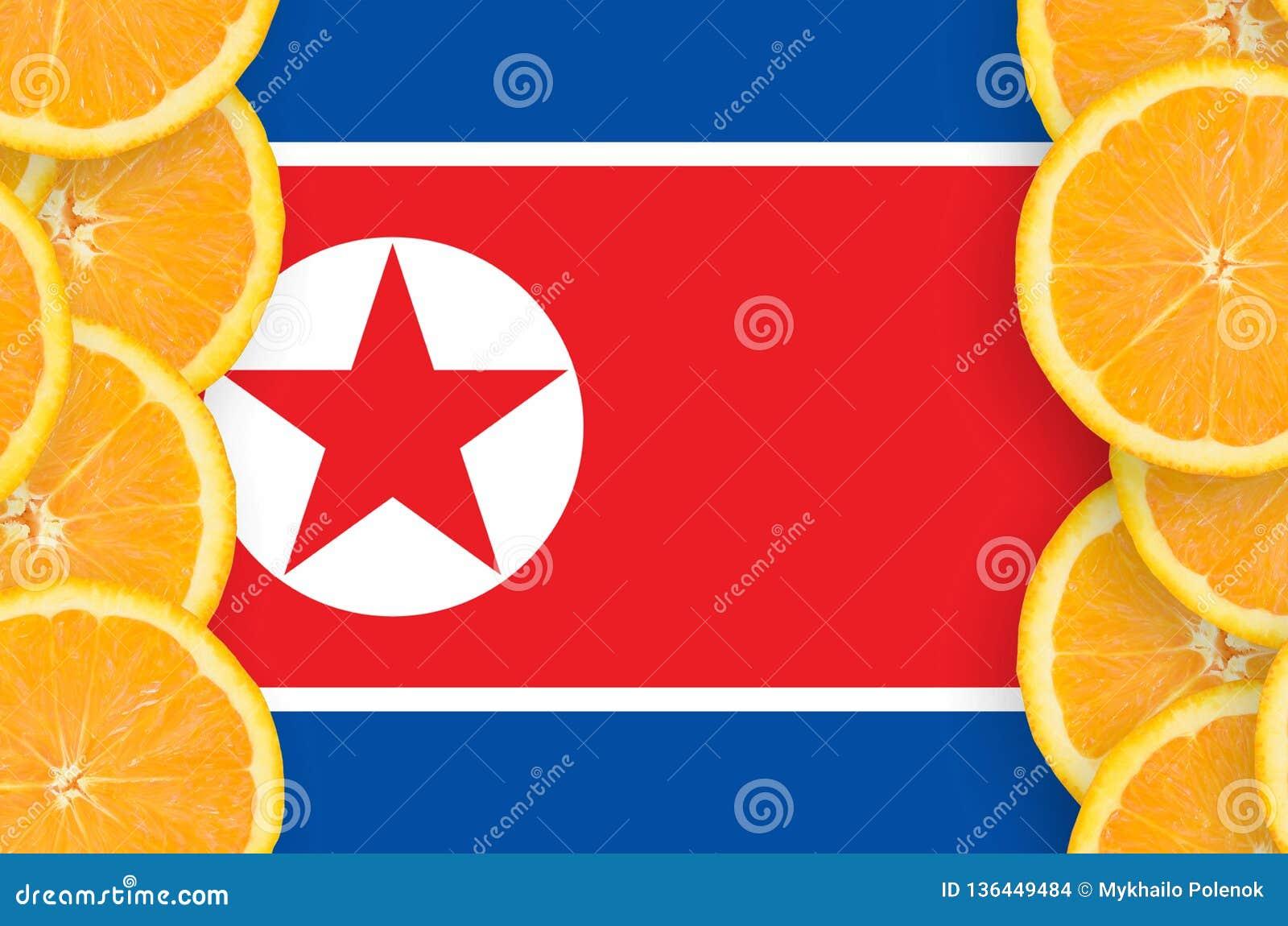 Флаг Корейской Северной Кореи в рамке кусков цитрусовых фруктов вертикальной