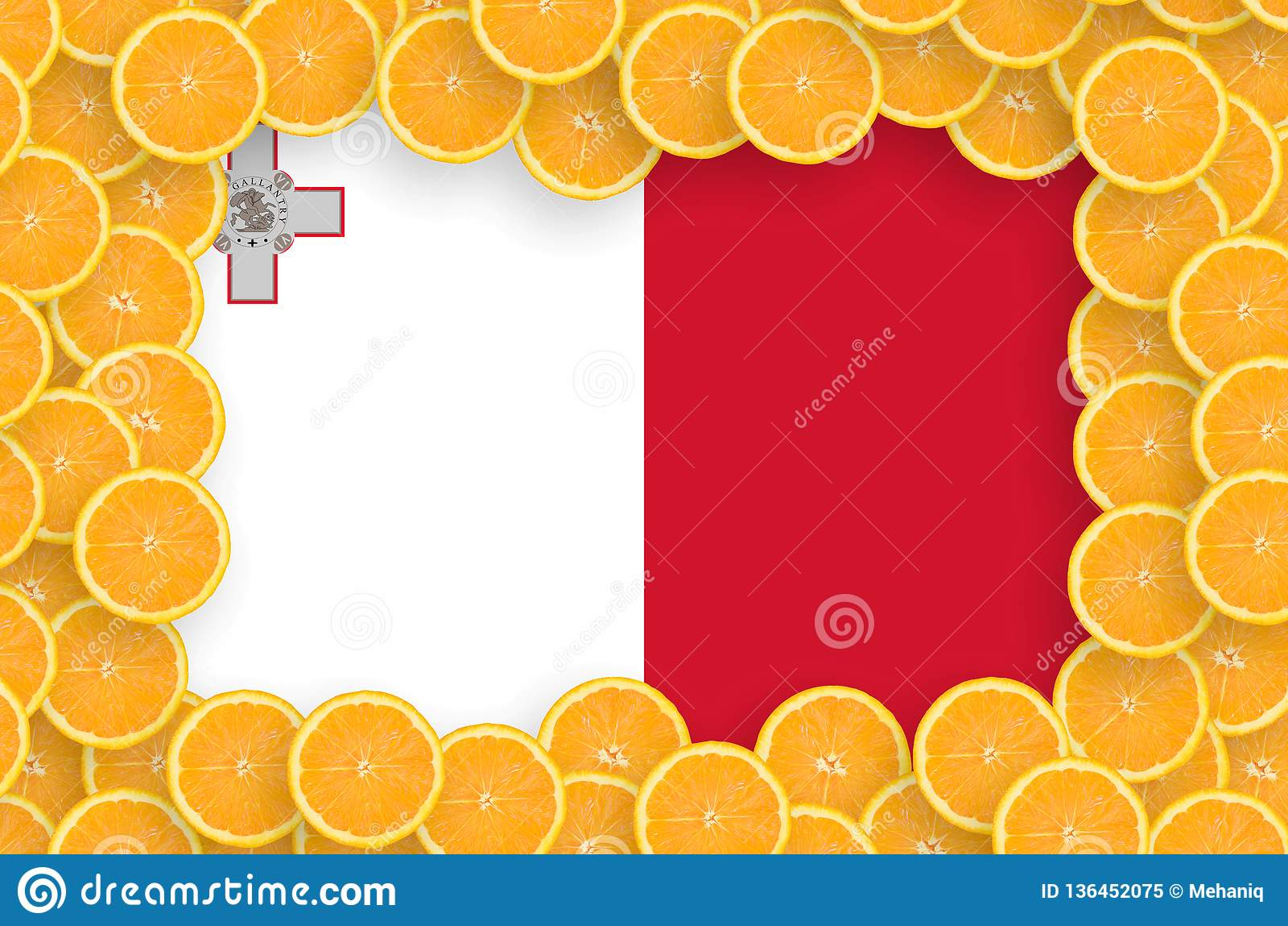 Флаг Мальты в свежей рамке кусков цитрусовых фруктов