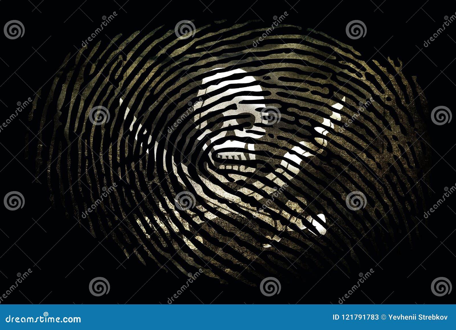 Флаг пиратов в форме отпечатка пальцев на черной предпосылке