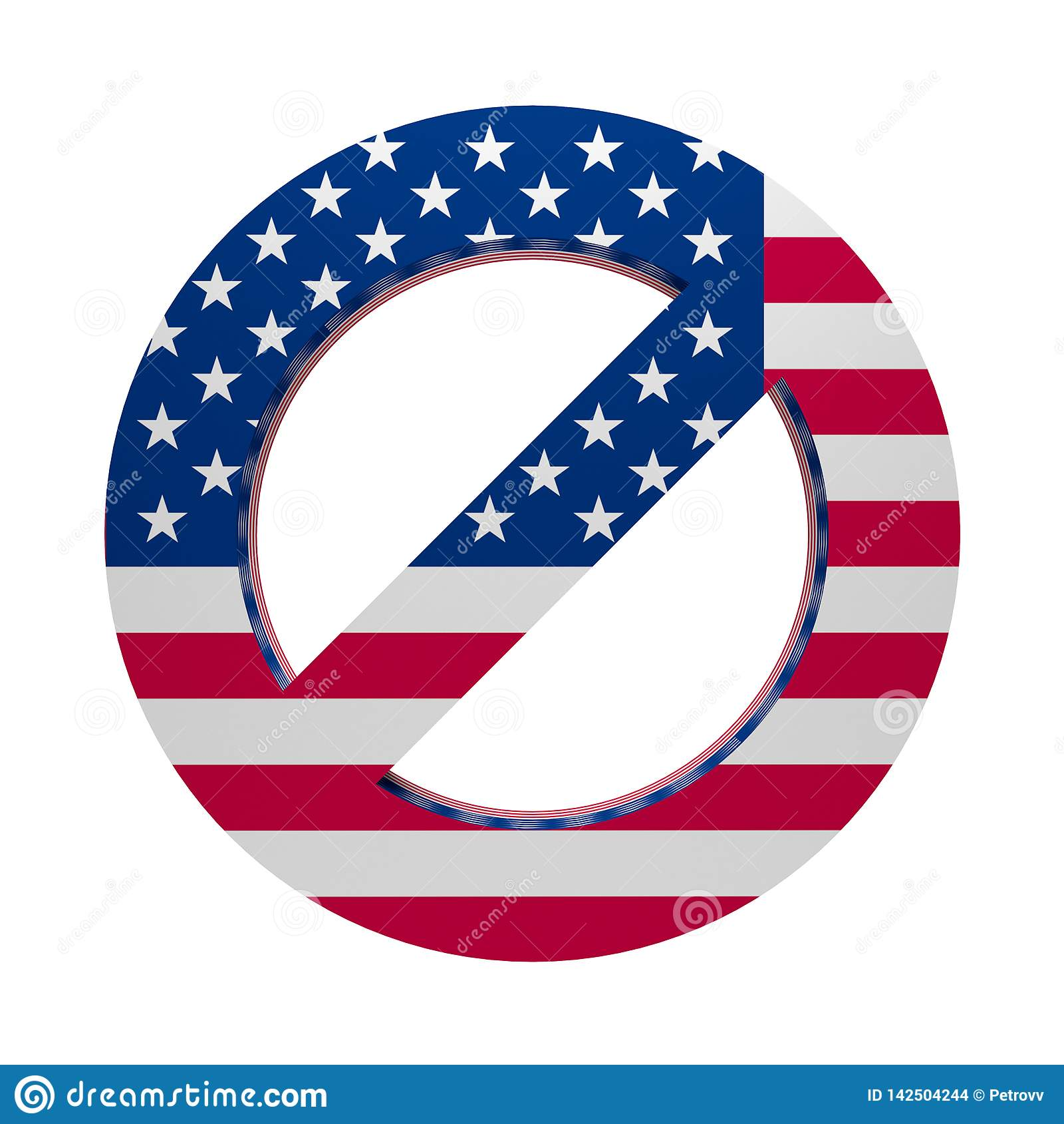 Флаг покрашенный знаком США запрета