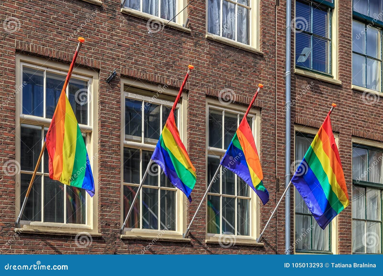 Флаг радуги, селективный фокус, Амстердам