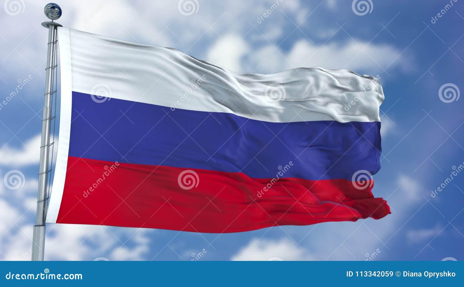 Флаг России в голубом небе