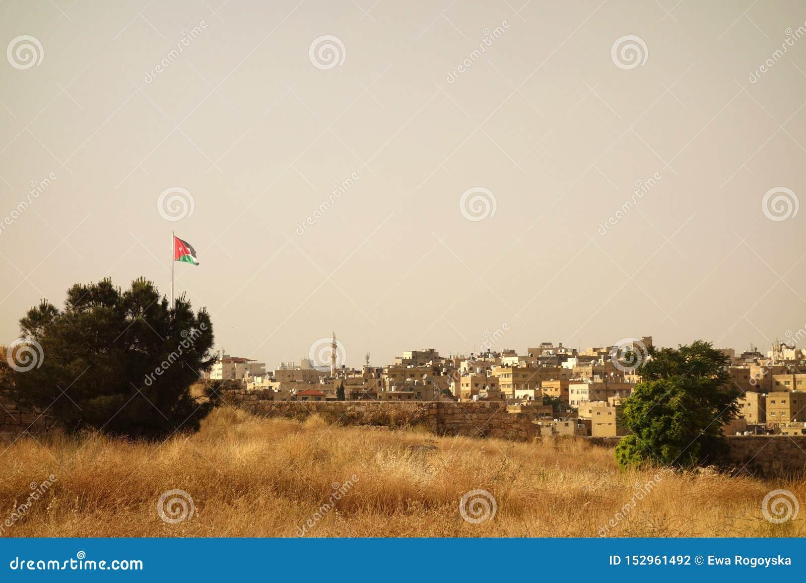 Флаг старого городка Аммана йорданський