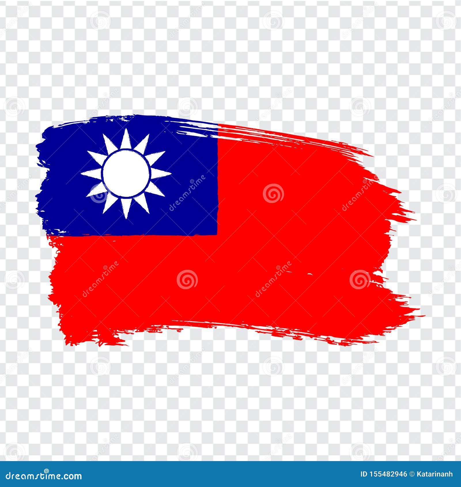Флаг Тайвань от ходов щетки Флаг Тайваня на прозрачной предпосылке для вашего дизайна вебсайта, логотипе, приложении, UI