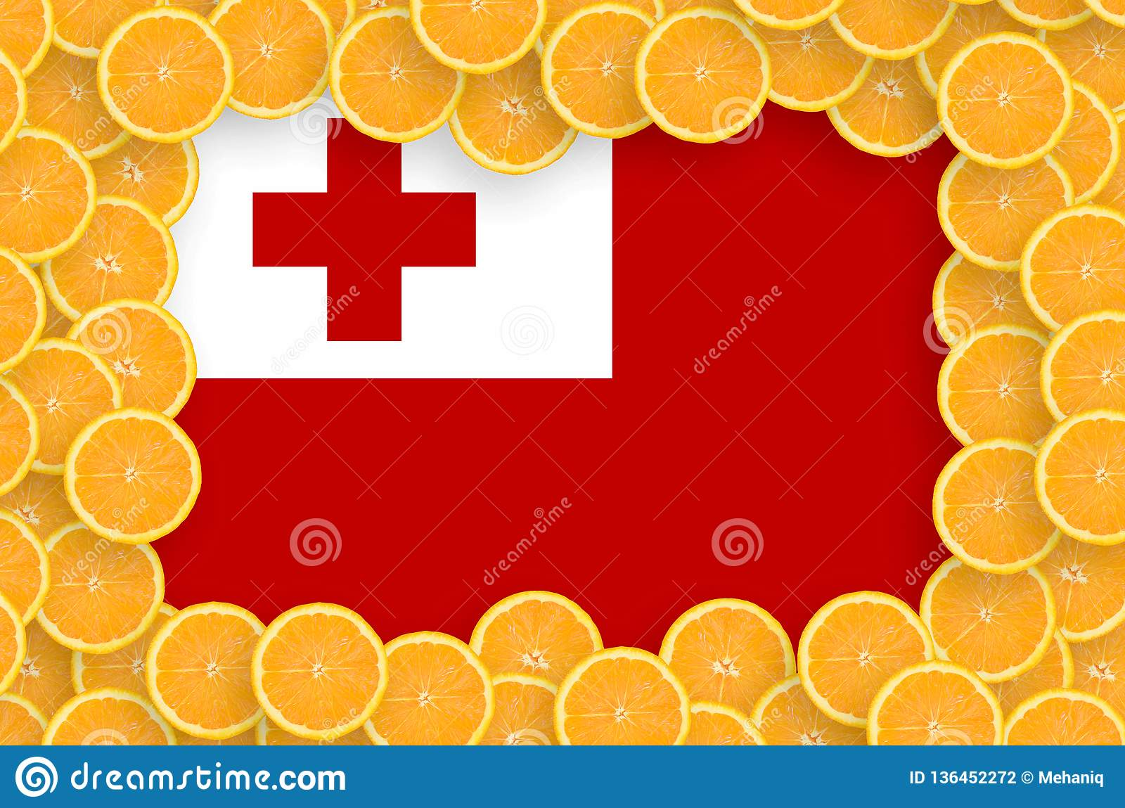 Флаг Тонги в свежей рамке кусков цитрусовых фруктов