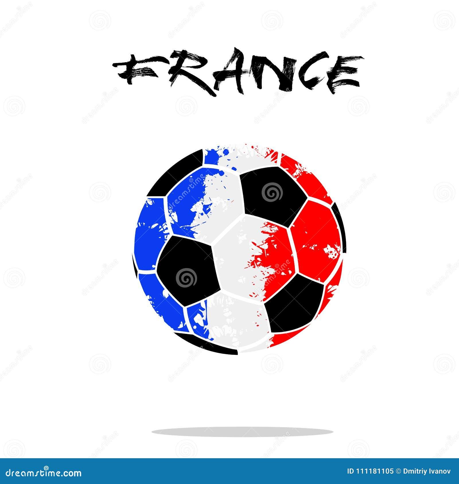 Абстрактный футбольный мяч покрашенный в цветах флага Франции также вектор  иллюстрации притяжки corel c9a6d8416d7