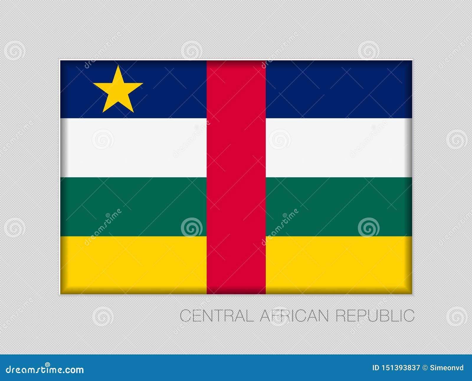 Флаг Центральноафриканской Республики Национальный коэффициент сжатия 2 до 3 Ensign на картоне серого цвета