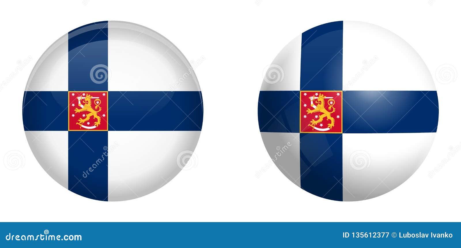 Флаг ensign государства Финляндии с львом под кнопкой купола 3d и на лоснистых сфере/шарике