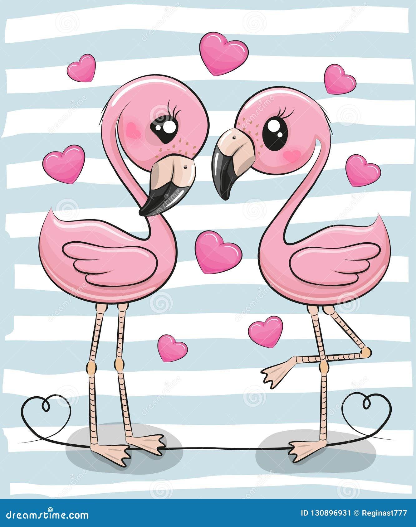 2 фламинго мультфильма на голубой предпосылке