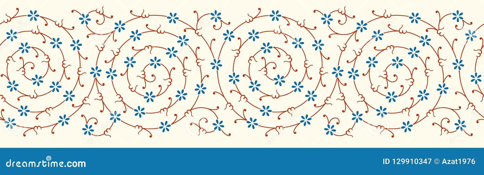 Флористическая граница для вашего дизайна Орнамент традиционной турецкой тахты ½ ¿ ï безшовный Iznik