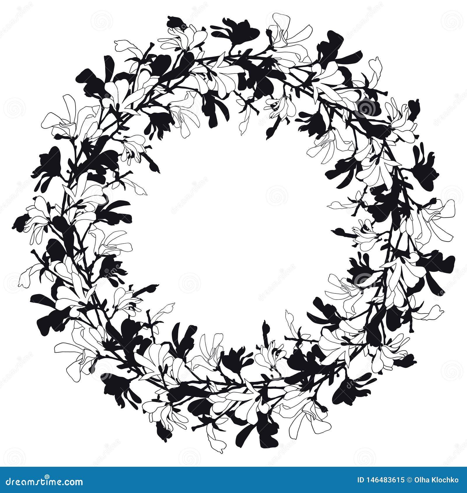 Флористическая рамка с цветением дерева магнолии в черно-белом Предпосылка с цветком ветви и магнолии Венок весны