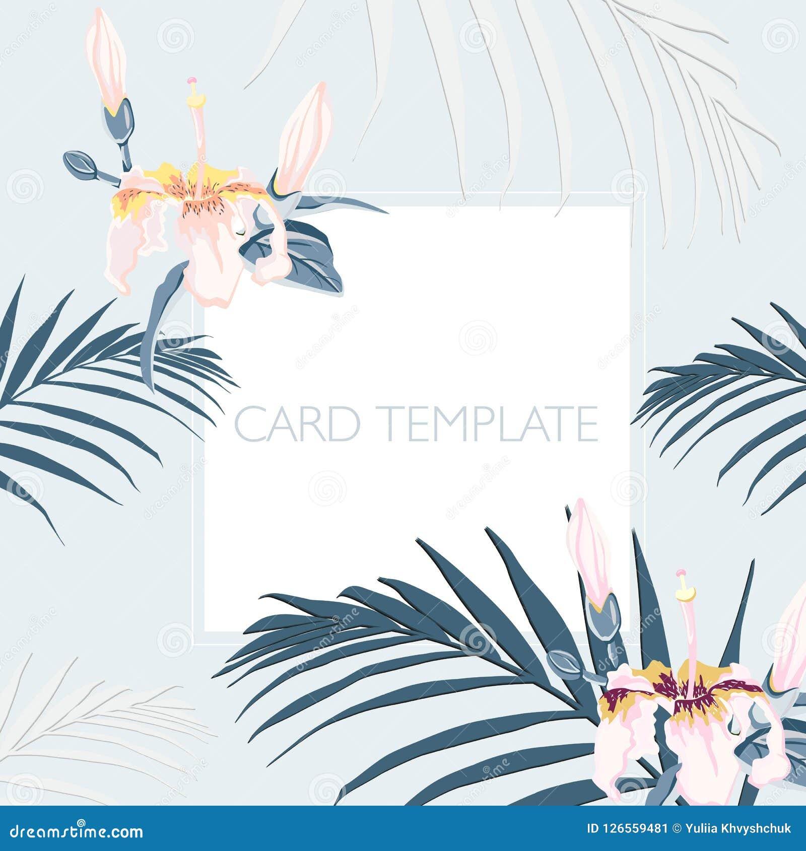 Флористические элегантные приглашают дизайн карточки: тропические листья ладони и цветки рая розовые