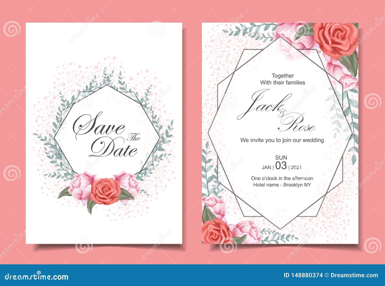 Флористический набор карт приглашения свадьбы с розами, дикими листьями, геометрической рамкой, и влиянием искры