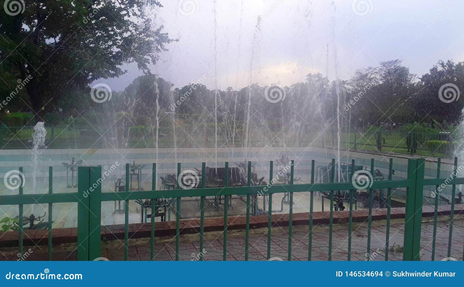 Фонтан в зеленом парке