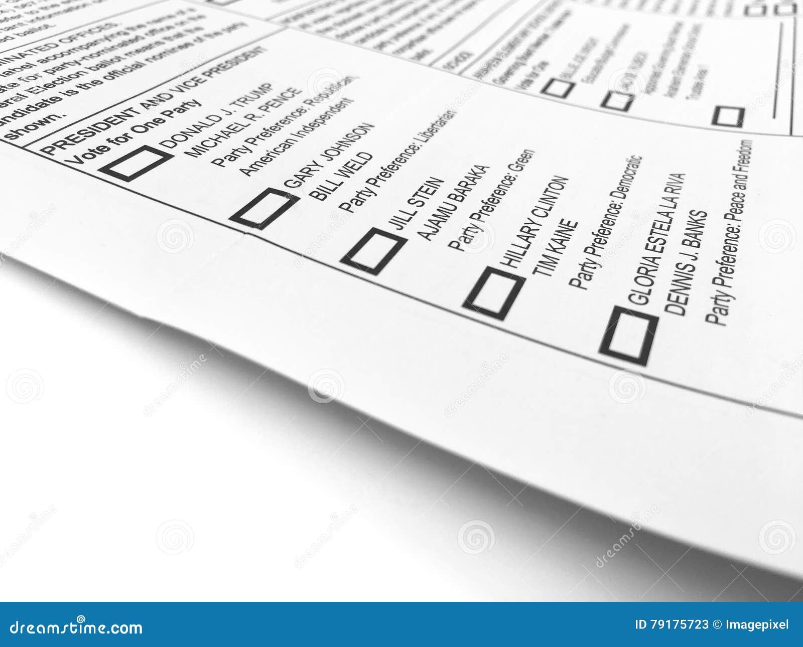 Форма 2016 голосования всеобщих выборов
