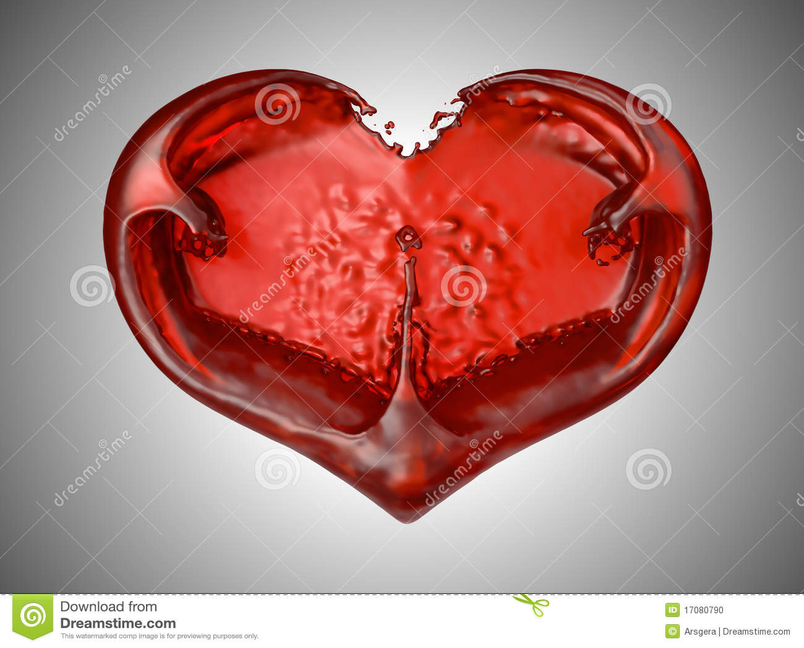 форма жидкостной влюбленности сердца красная романская