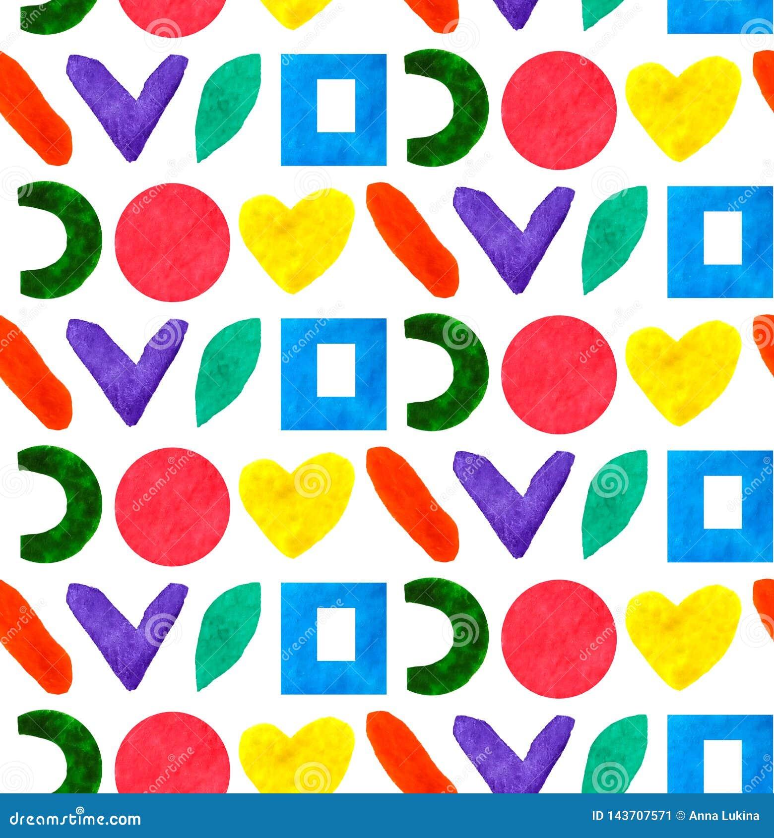 Форма и формы безшовной картины геометрическая различная объезжают, придают квадратную форму, сердце в радуге цвета в белой предп
