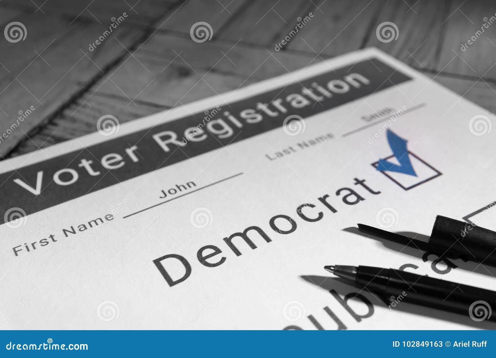 Форма регистрации избирателя - Демократ