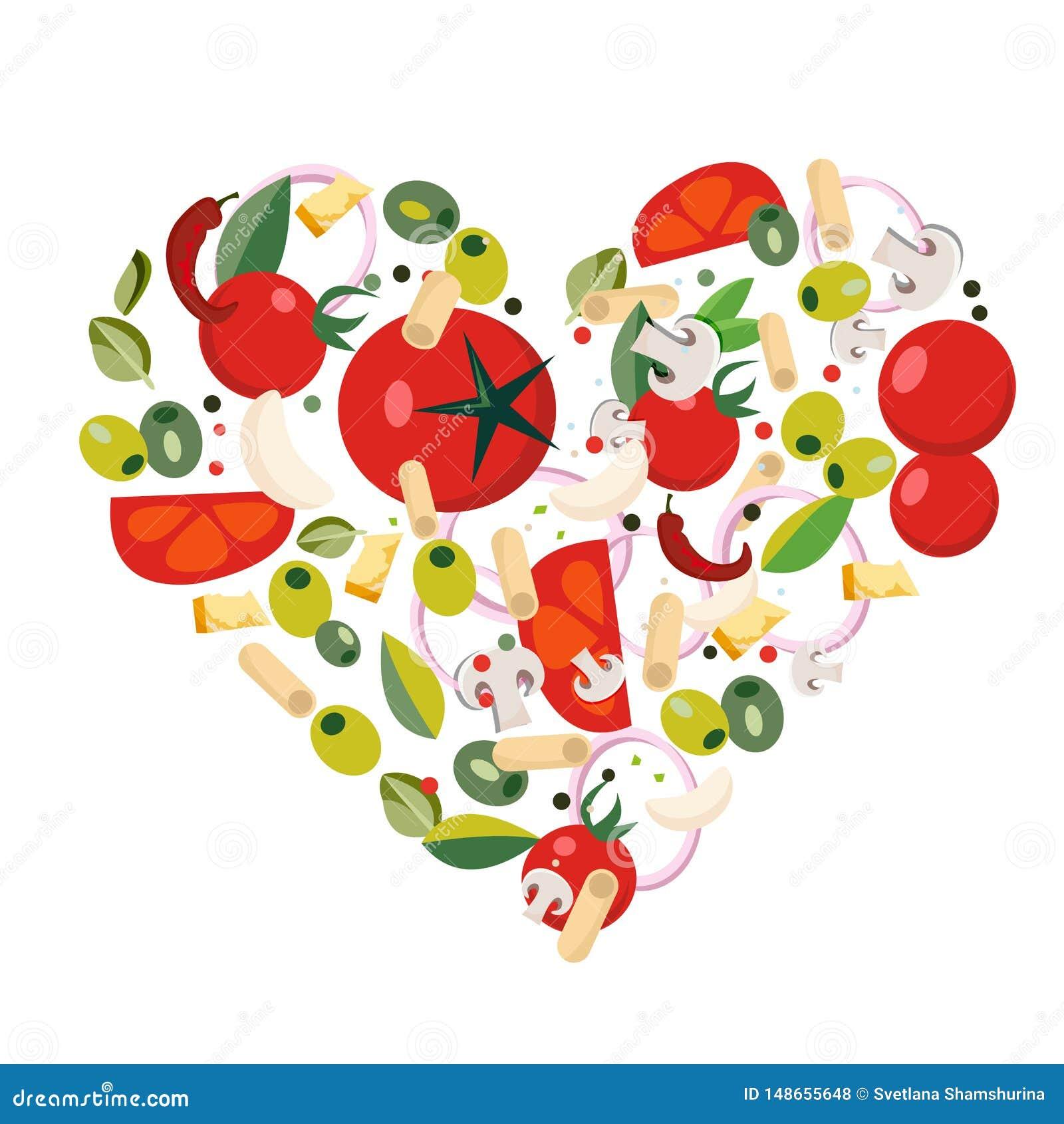 Форма сердца со среднеземноморскими значками Ингредиенты - томат, оливка, лук, перец, гриб, макаронные изделия, сыр, chili, чесно