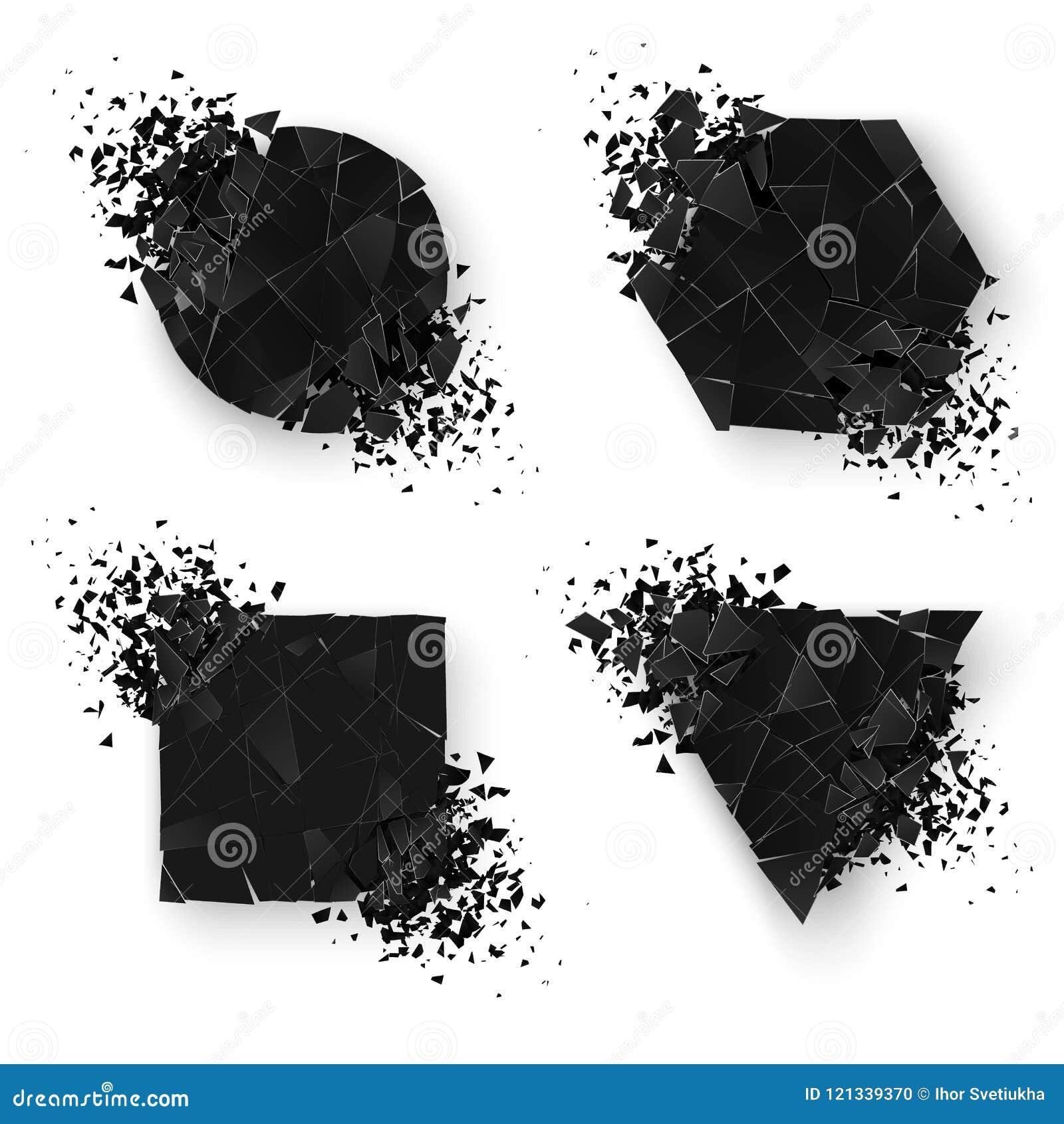 Формы абстрактного взрыва геометрические знамена установили сеть Стикер геометрии установленный с космосом для текста также векто
