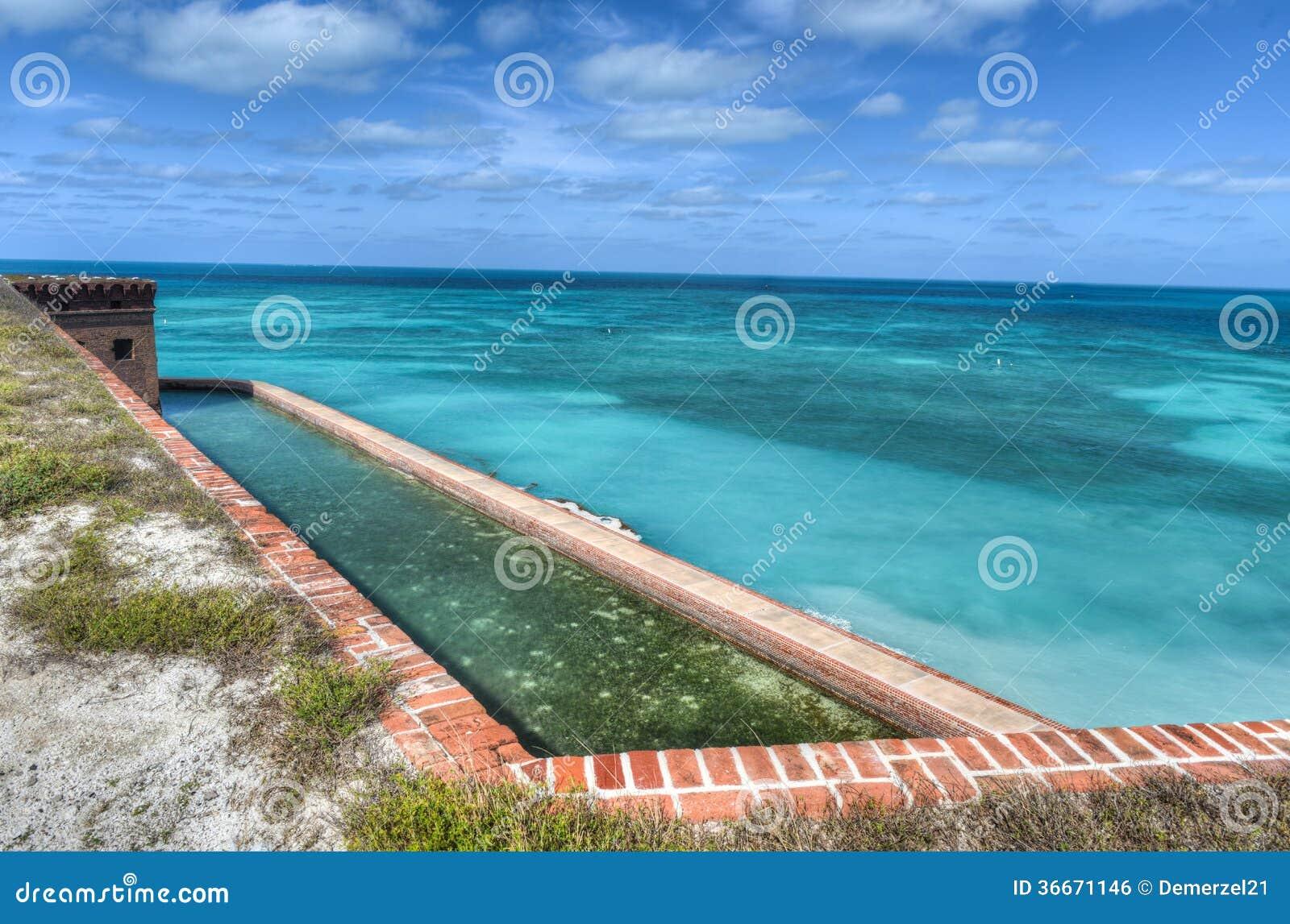 Форт Jefferson на сухом национальном парке Tortugas
