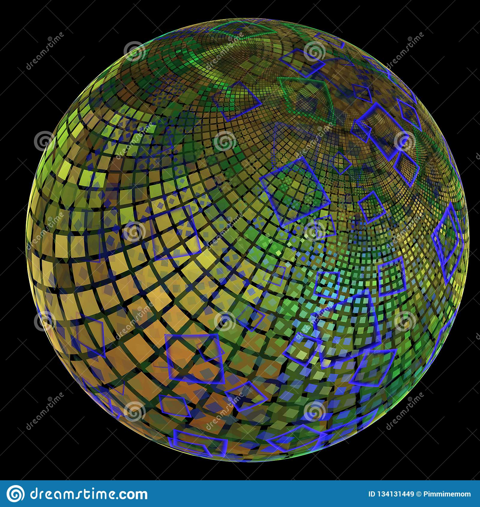 Фракталь с похожим на земл глобусом предусматриванным в квадратах в различных размерах и слоях