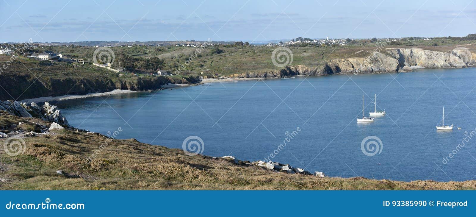 Франция, Бретань, Бретань, Finistere Скалистый ландшафт на ile Crozon ` Presqu