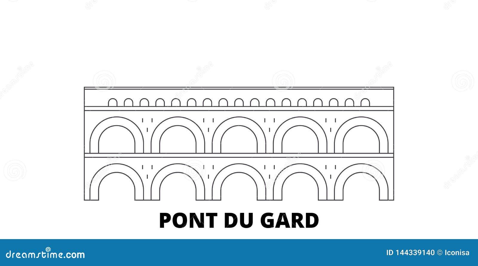Франция, линия набор ориентира Pont Du Гара горизонта перемещения Франция, иллюстрация вектора города плана ориентира Pont Du Гар