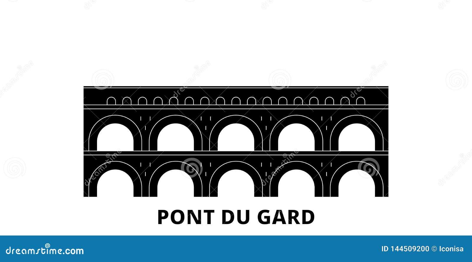 Франция, набор горизонта перемещения ориентира Pont Du Гара плоский Франция, иллюстрация вектора города черноты ориентира Pont Du