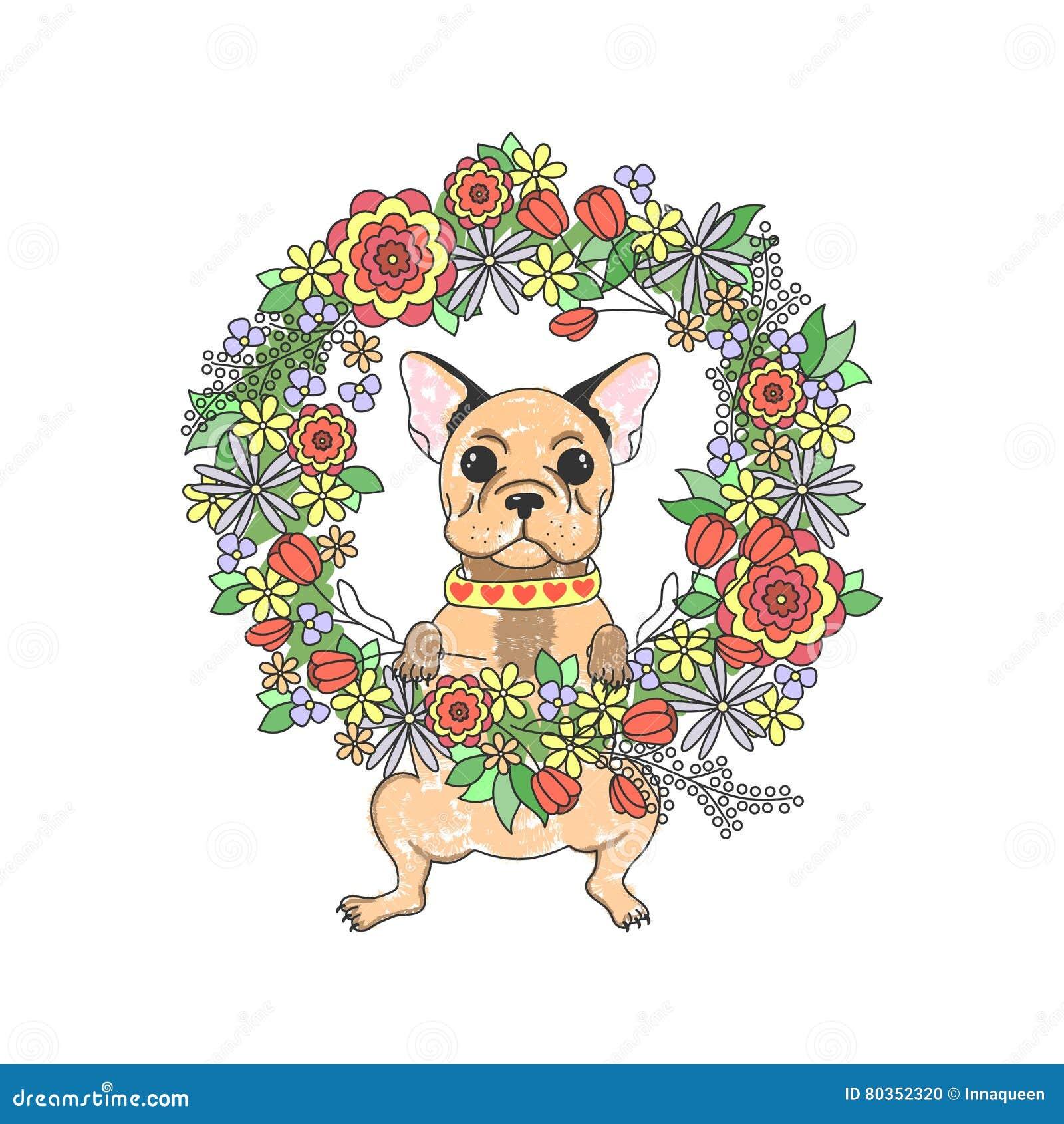 Французский бульдог с цветками милый щенок