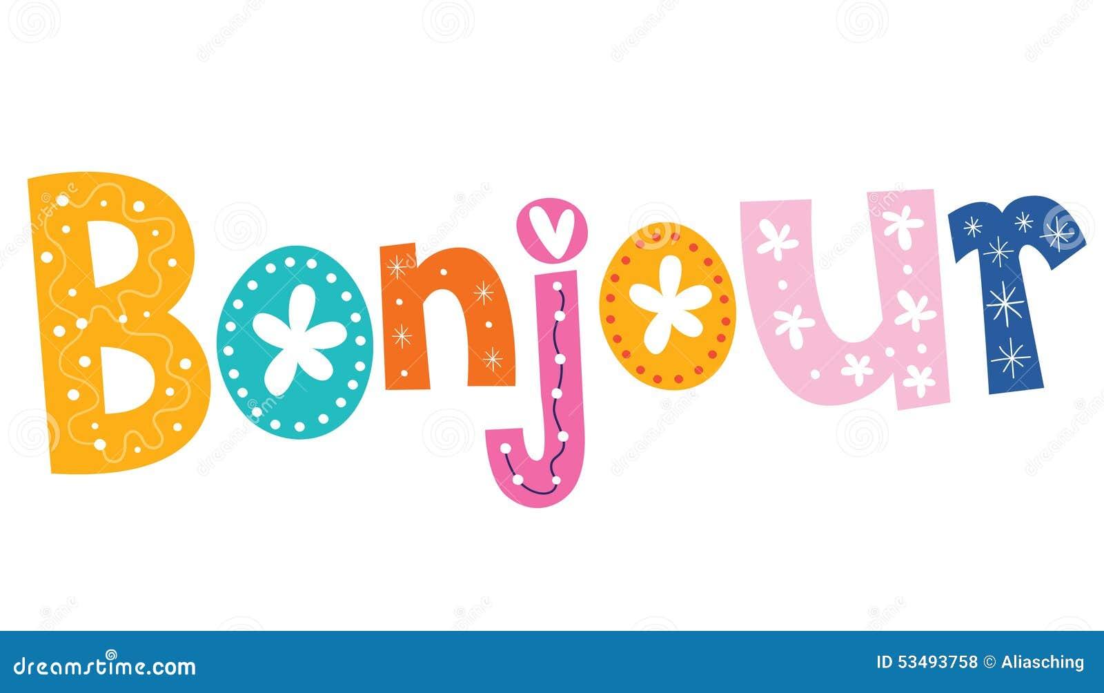 французское слово Bonjour иллюстрация вектора иллюстрации