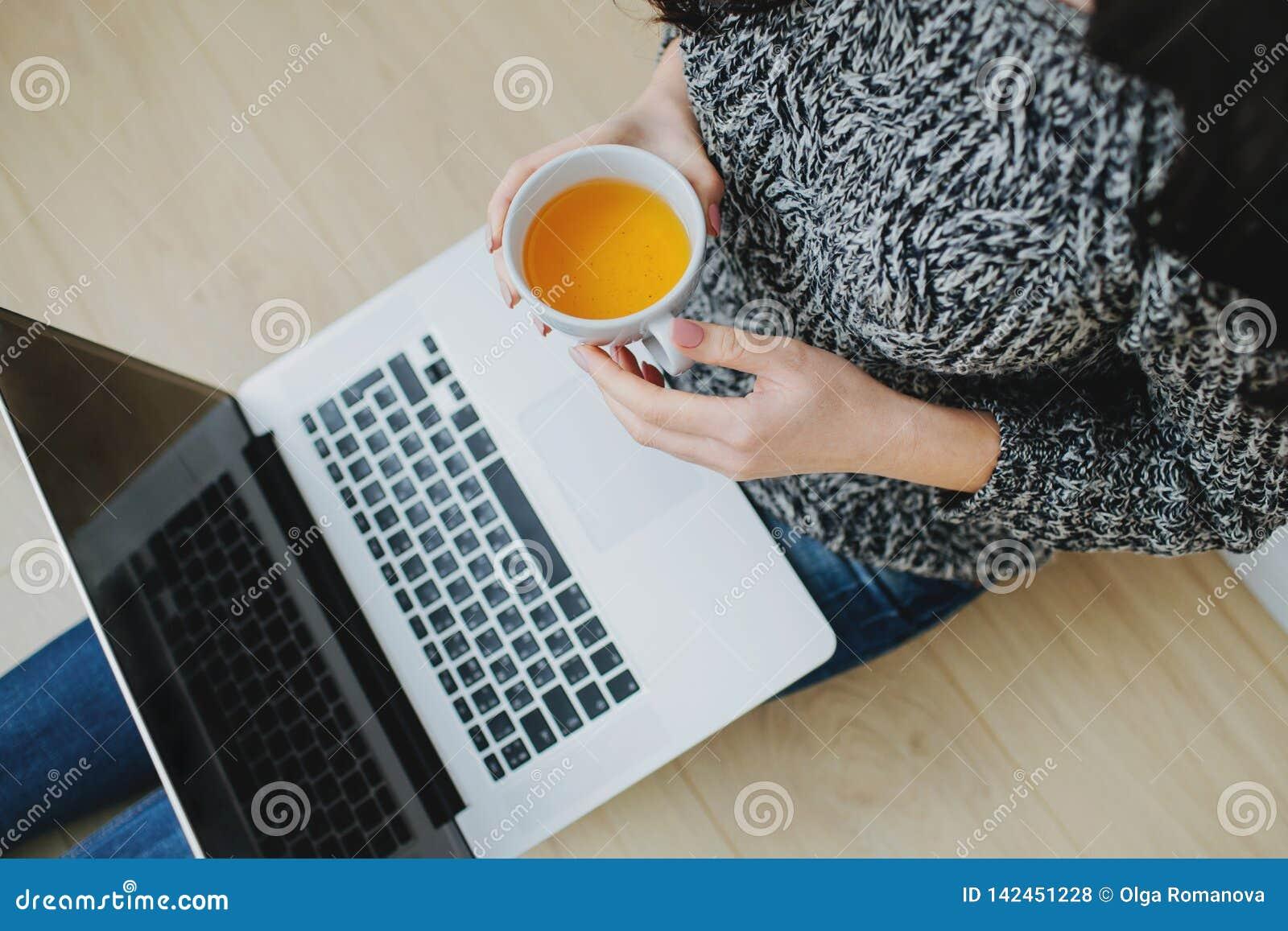 Фрилансер женщины работая на ноутбуке от дома