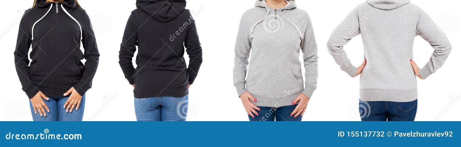 Фронт и задний взгляд - женская женщина девушки в сером черном hoodie изолированном на белой предпосылке