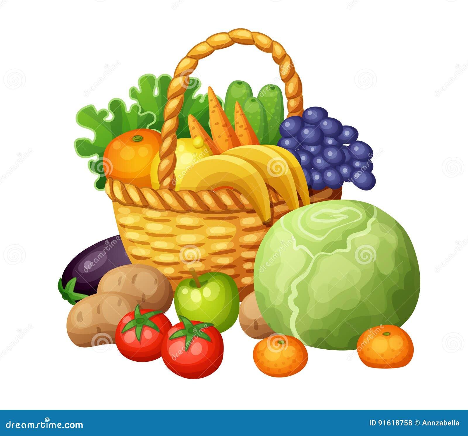 Фрукты и овощи в корзине Alien кот шаржа избегает вектор ...