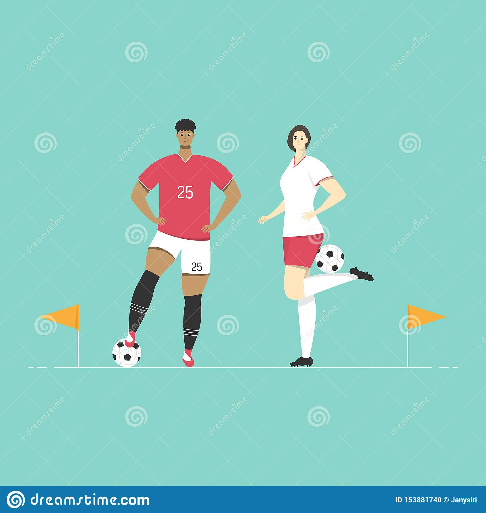 Футболисты стоят с флагами футбола угловыми Дизайн спорта характера плоский
