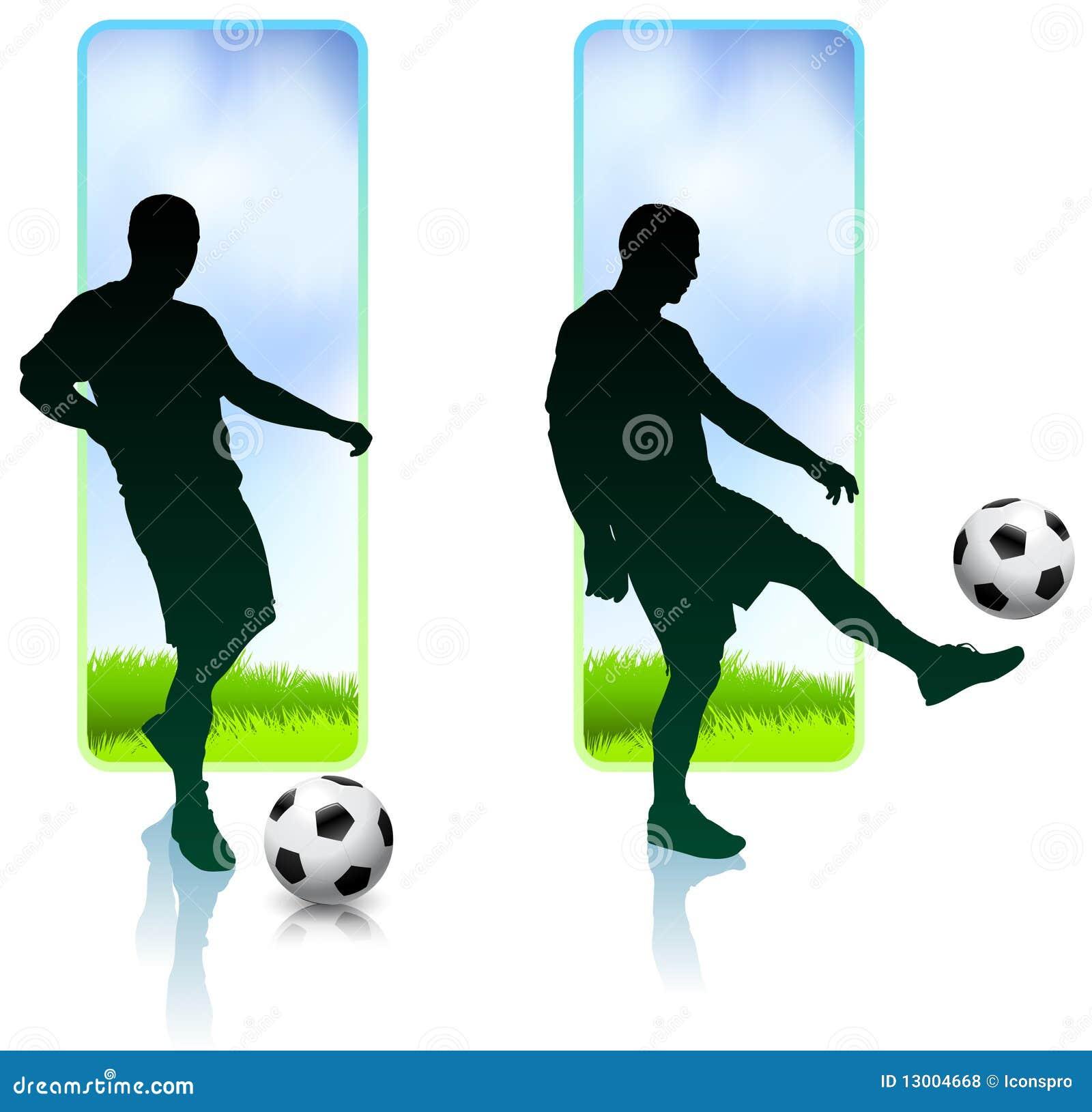 Футболист с знаменами природы