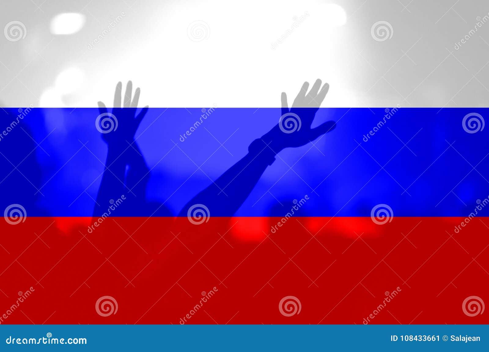 Футбольные болельщики с смешивать флаг России
