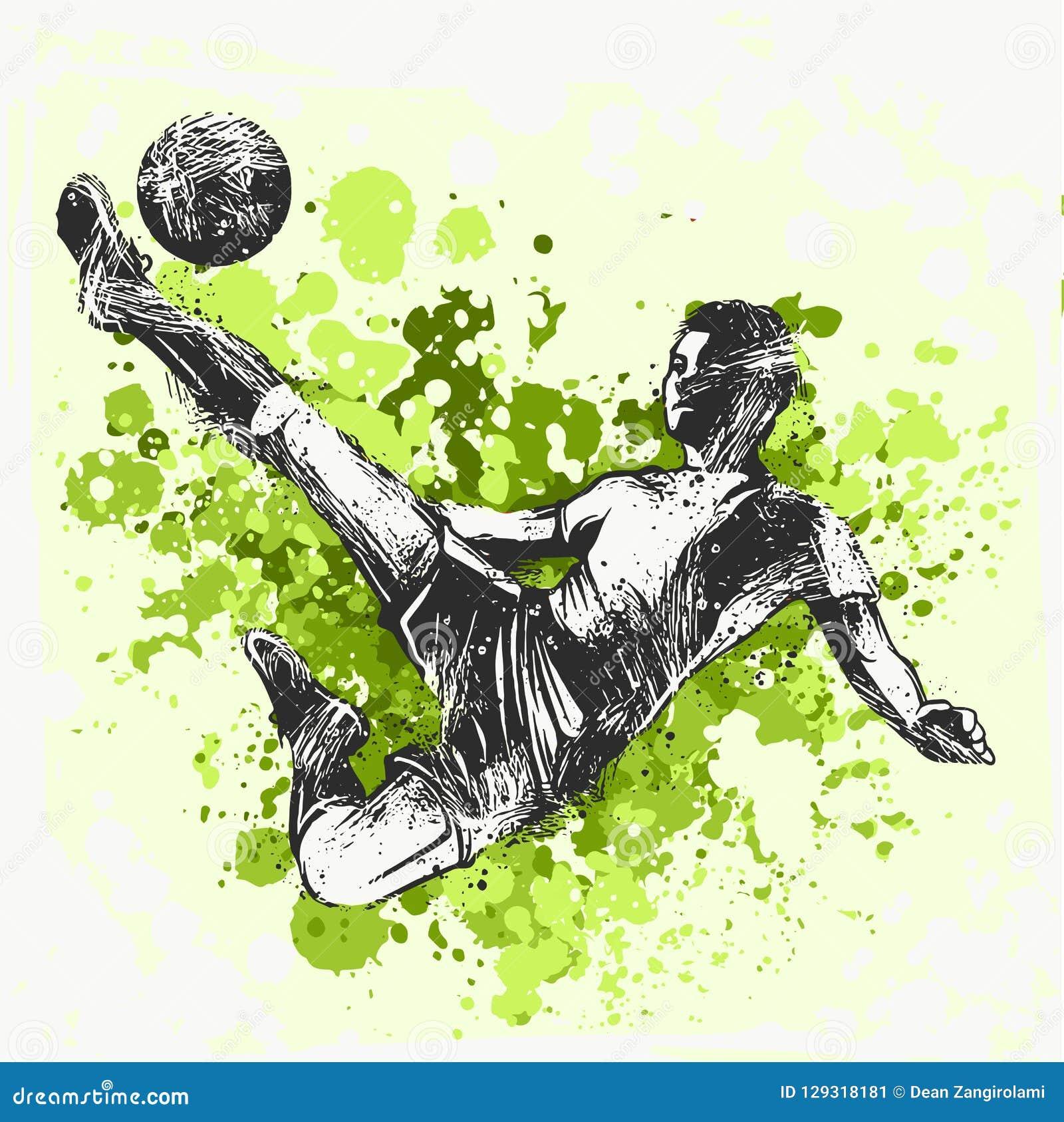 футбол игрока шарика пиная иллюстрация спорта