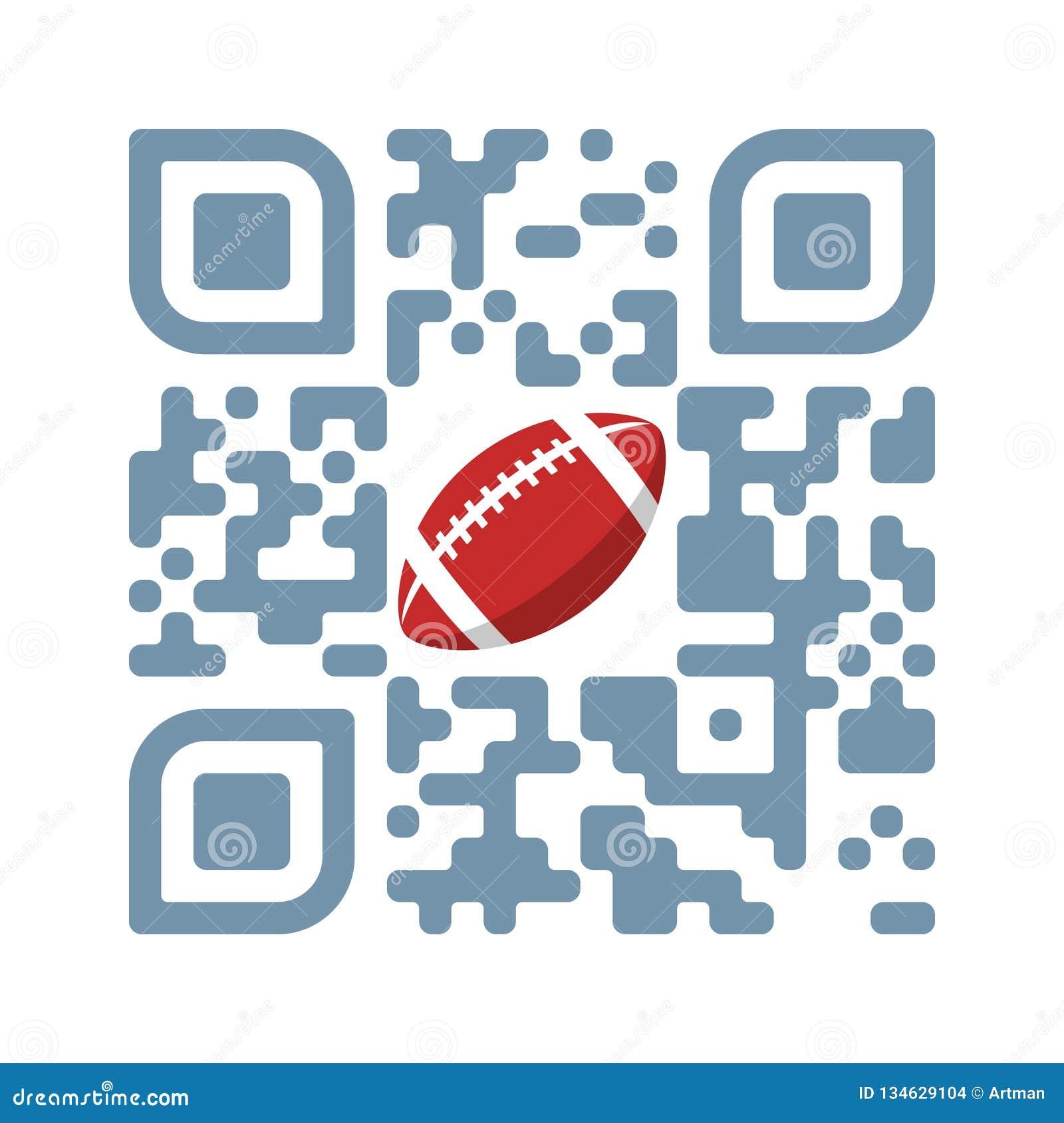 Футбол игры кода смартфона читаемый QR со значком шарика