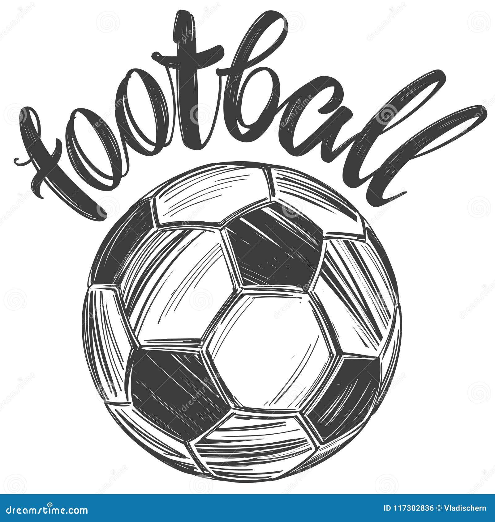 9aede613256521 Футбол, футбольный мяч, резвится игра, каллиграфический текст, эскиз  иллюстрации вектора знака эмблемы нарисованный рукой