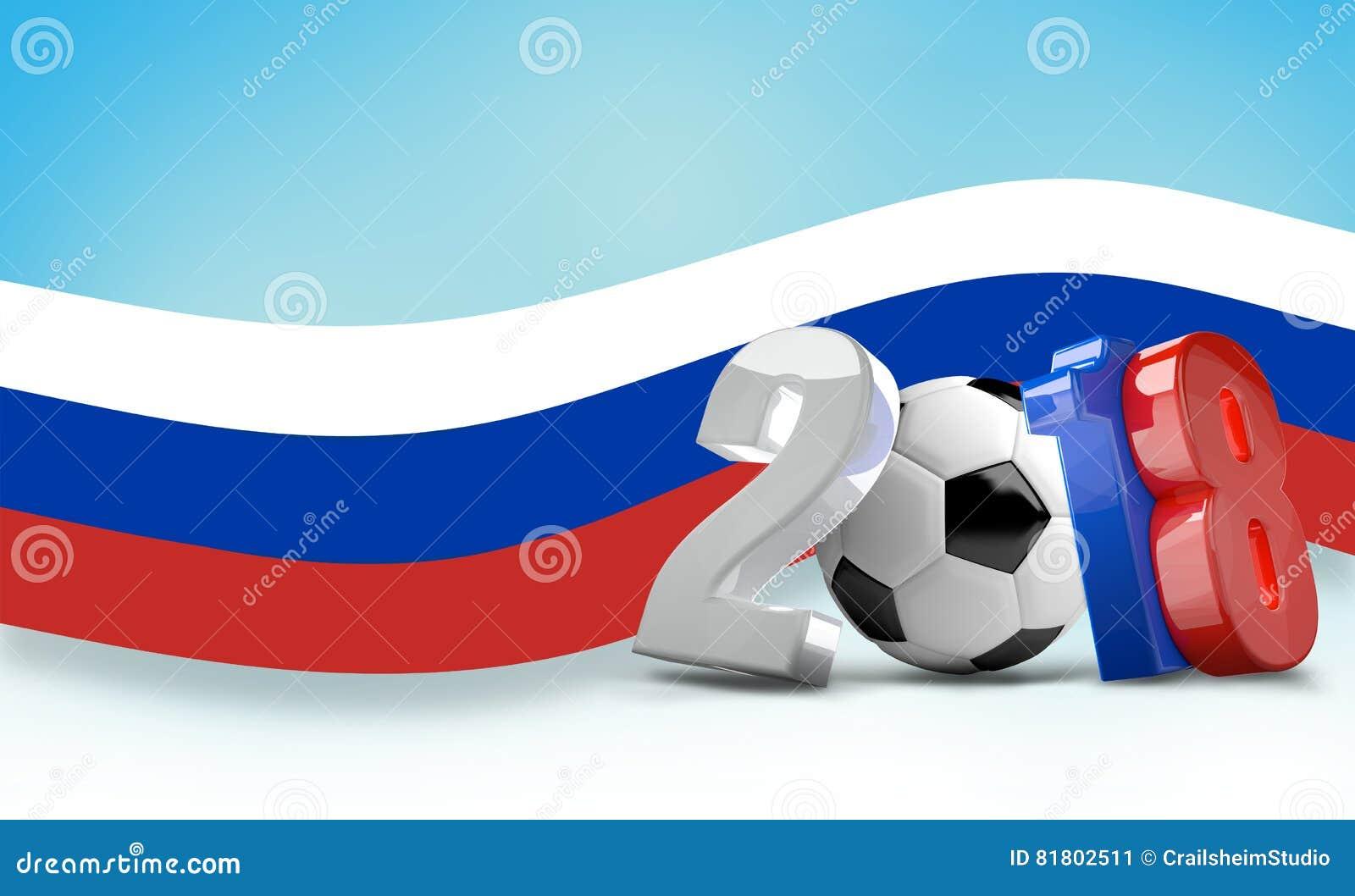 Футбол футбола Россия 2018 3d представляет изолированный