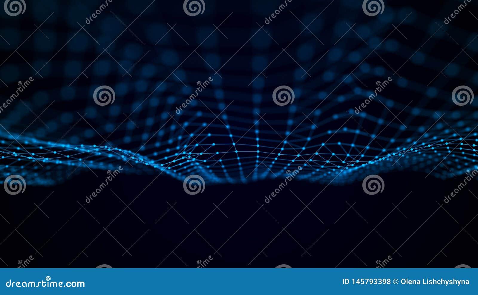 Футуристическая волна пункта Абстрактная предпосылка с динамической волной Иллюстрация технологии данных