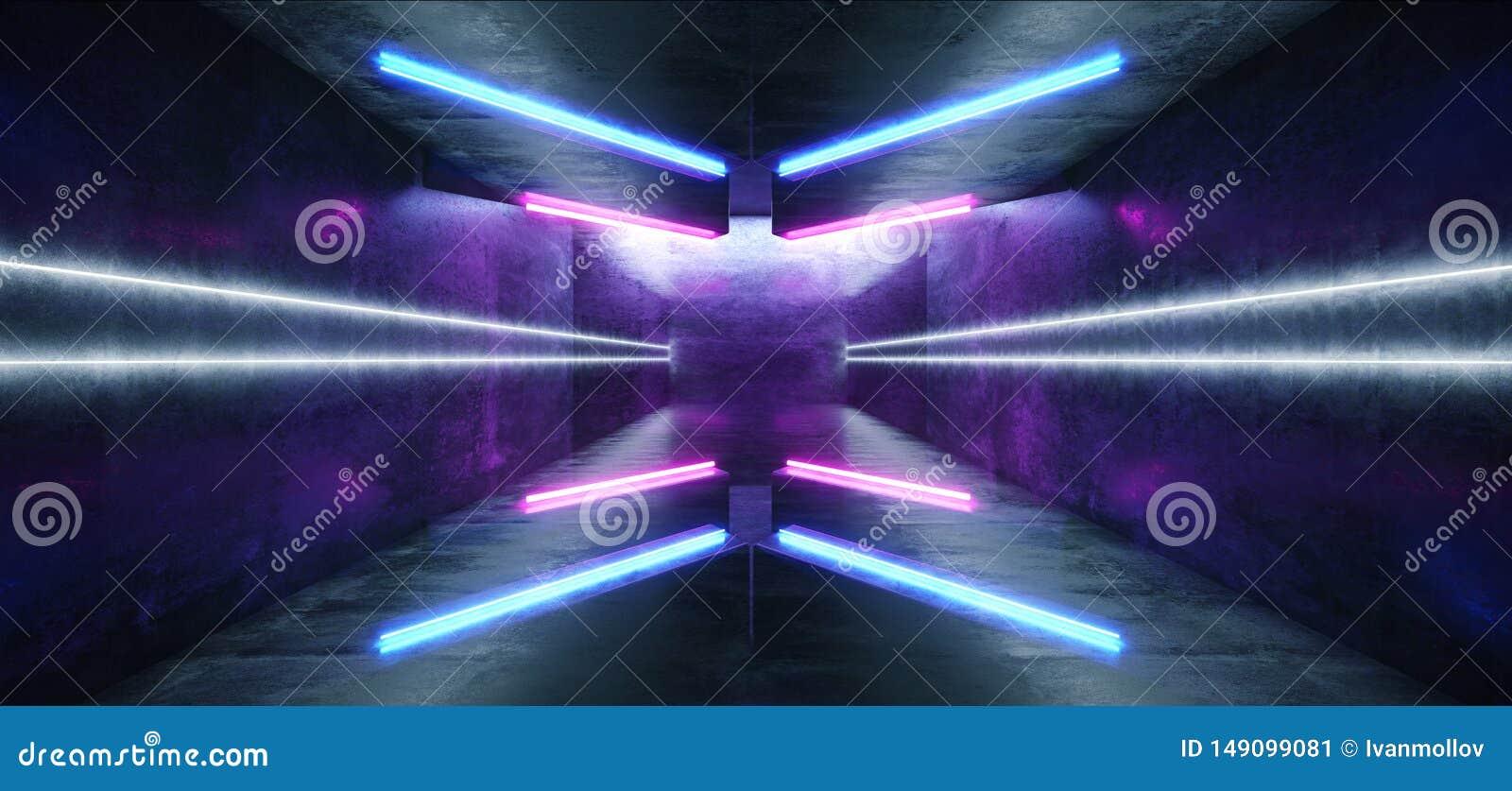 Футуристическая стрелка сформировала Grunge коридора неоновых свет накаляя гараж подиума живого голубого пурпурного конкретный те