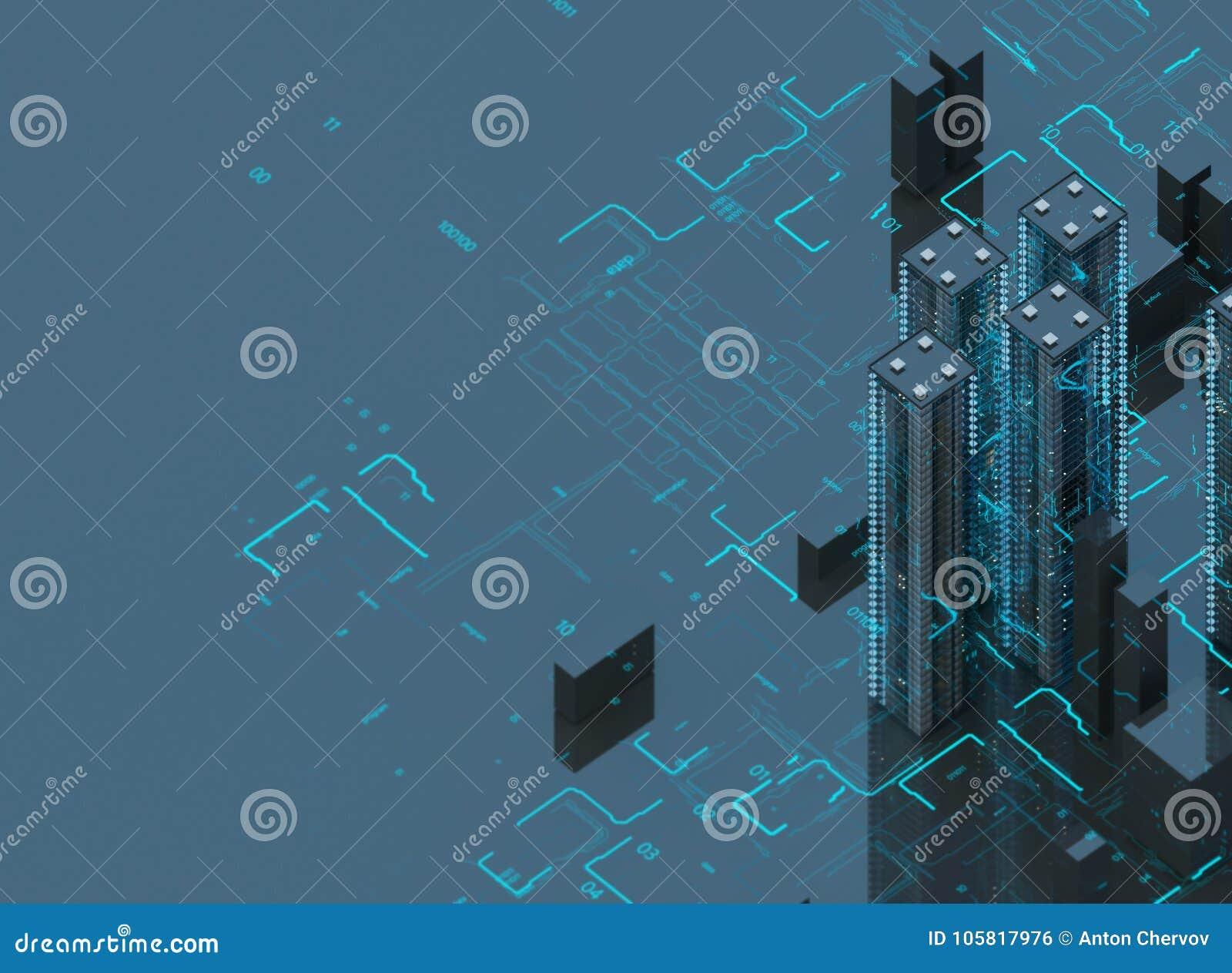 Футуристические небоскребы в подаче Подача цифровых данных город будущие дома обнаружили местонахождение наши заменяя сферы предс
