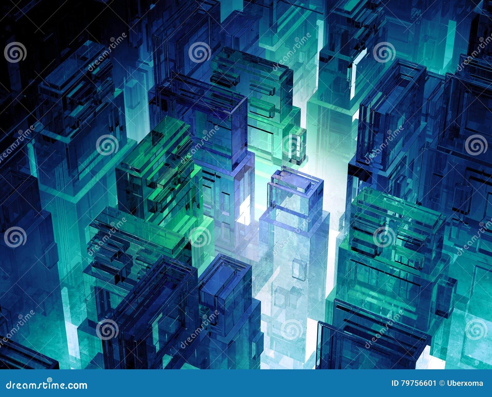 Футуристический город микро- обломоков Предпосылка информационной технологии компьутерных наук Мегаполис Sci fi иллюстрация 3d