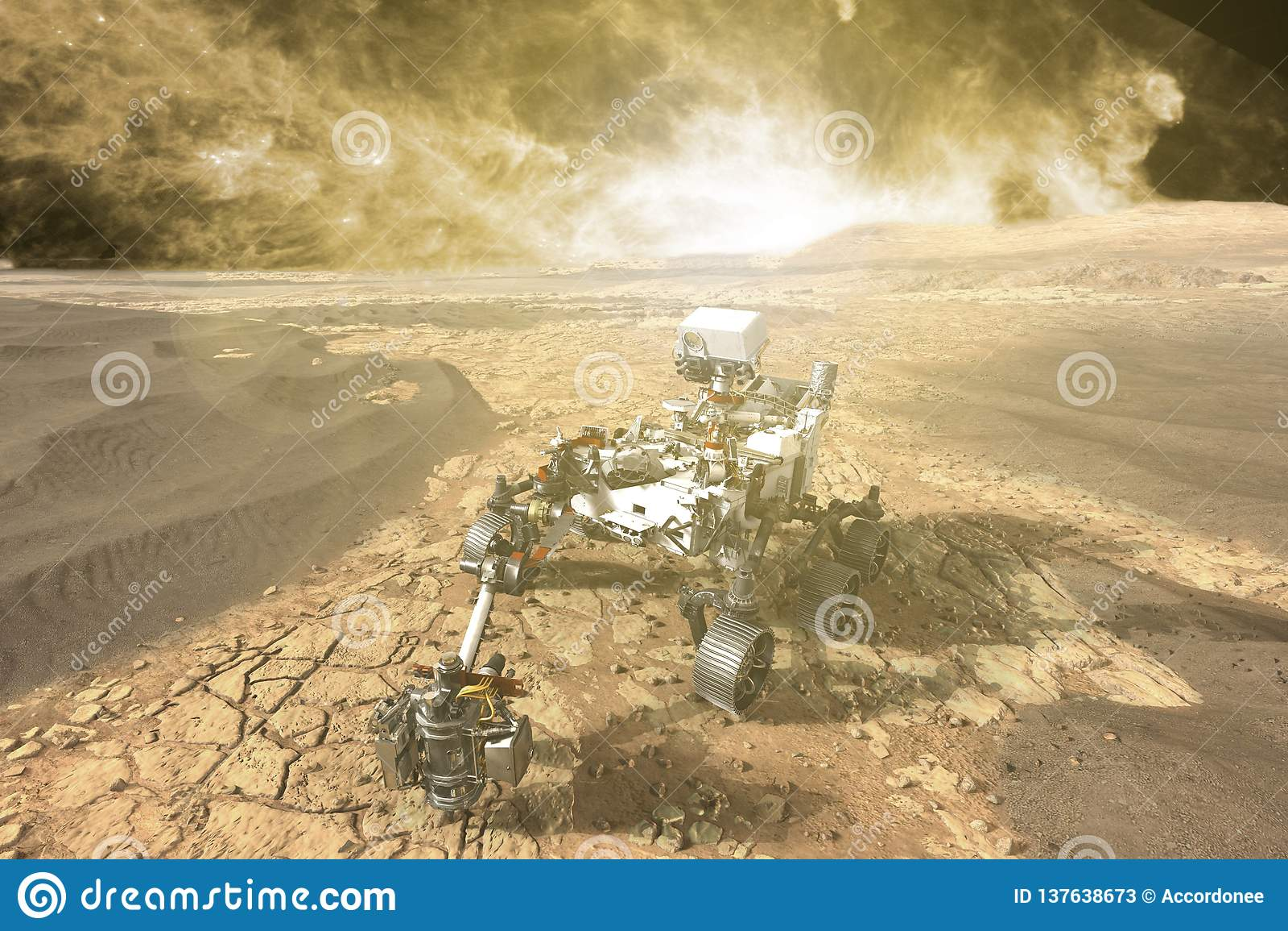 Футуристический повреждает vasts вездехода исследуя красной планеты f